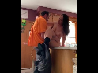 Cheating wife sneaks out from work for a huge load inside her fertile pussy
