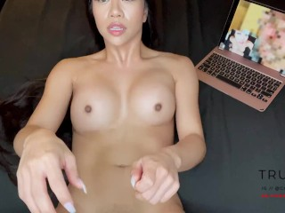 Sexy Asian Only Fans Star Trucici fucks her neighbor in front of her cuck husband over Facetime