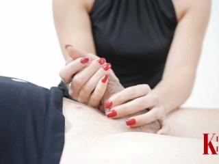 Red nails handjob and sensual cum play massage on cum covered cock - Knova Knecks