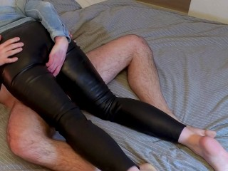 slutty wife in tight leather pants lets me rub my dick between her legs - cumshot on big leather ass