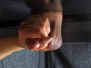 Milking table draining his saggy balls on my tits. sticking my nails in his cock.
