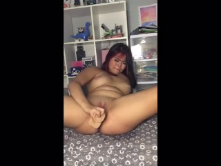 Curvy mixed race alt girl masturbates and squirts while begging you to cum inside her
