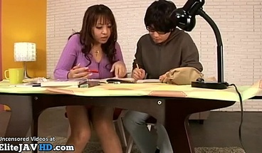 Japanese busty teacher provokes her student to cum