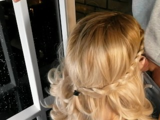 Hot blonde smokes on the balcony and sucks a dirty dick