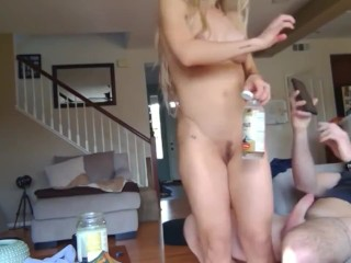 Sexy blonde wife gets creampie from best friend while hubby not home