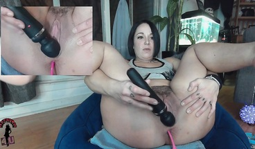 Spreading Pussy with Toys in Ass Close up on Multi Cam