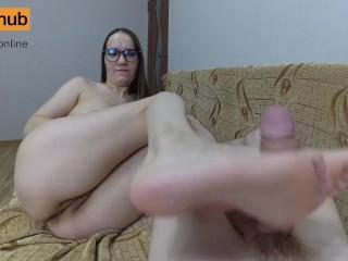 POV Side Footjob Dick and Gets Cum on Feet