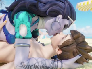 Widowmaker and Tracer making out - Overwatch