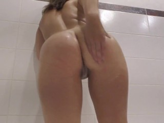Lustful Babe Fingering Wet Pussy in Shower - Solo