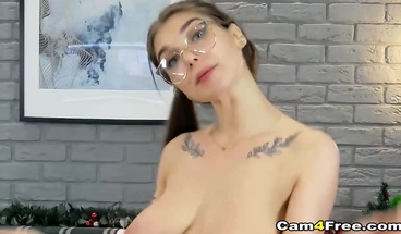 Cute Babe with Big Tits Fucks Her Pussy