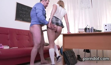 Lovesome college girl is teased and pounded by older teacher