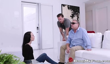 Stepbro Fucks His Slutty Sister While Dad Can't See