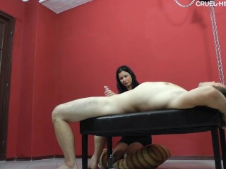Mistress Ameden torturing and jerking bondaged men