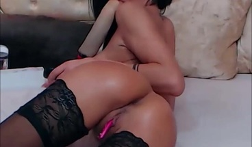 Brunette Camgirl With Big Tits Fingering Her Delicious Ass
