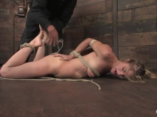 skinny blonde put through hard bdsm by two veteran doms