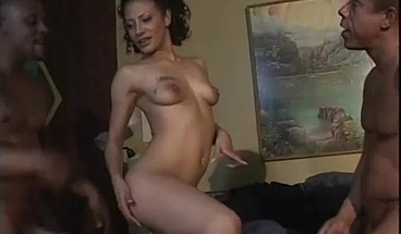 Kinky ebony beauty enjoys a hard DP with two eager dudes