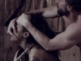 Ebony slave girl gets whipped, tied up and fucked by her master