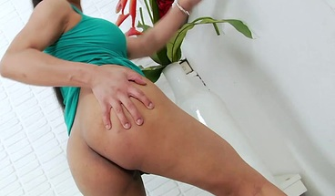 Asian TS toys and jerks off her shecock