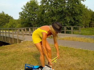 2018-07-19 Gitte Lamper @ Walk in transparent yellow mini dress #1