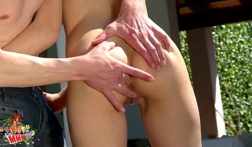 Hot young couple fucking outdoor by the pool