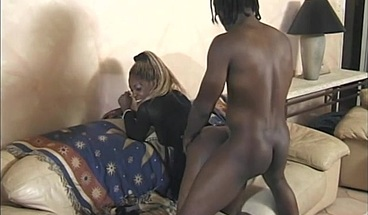 Skinny black beauty is fucked hard from behind