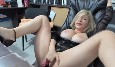 Hot Blonde Masturbates At Work And Squirts