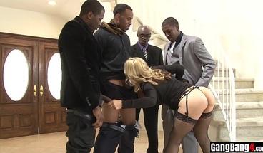Busty MILF bitch interracial gangbang with huge cocks