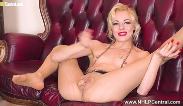 Dirty blonde wanks in pantyhose stuffs her pussy with nylons