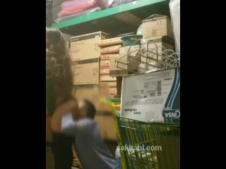 Old store manager fucking young Turkish teen in warehouse