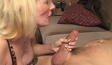 Curvy blonde MILF rides a thick throbbing cock