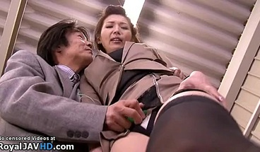 Busty Japanese assistant in stockings gets fucked hard