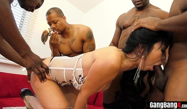Petite asian housewife gangbanged by a bunch of BBCs