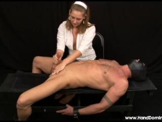 Femdom handjob with post orgasm torture