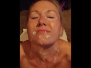 Real amateur blonde Mormon milf spreads legs for cumshot