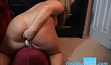 Sexy milf with big ass rides dildo