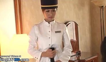 Japanese hotel maid has to satisfy horny boss