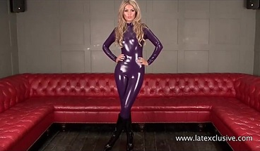 Purple latex blonde Charlottes high heels and tight rubber