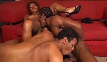 Pretty ebony beauty rides two horny cocks