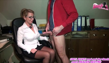 german mature milf secretary get lick pussy n fuck in office