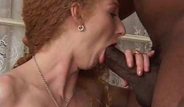 Naughty red-haired MILF gets her hairy pussy drilled