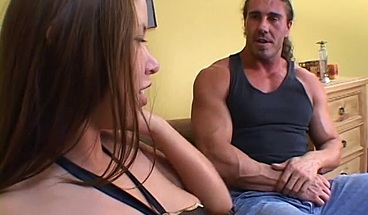 Beautiful brunette enjoys a steamy fuck with muscular dude