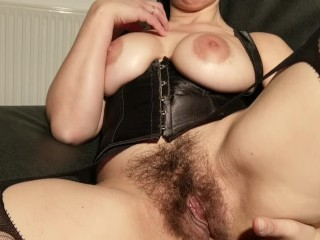 Big tiits hairy milf open her pussy wide