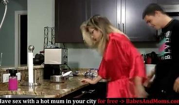 Horny Stepson Fucks Stepmom While She's Making Breakfast
