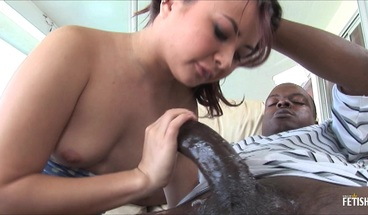 Pretty asian babe likes to fuck a black guy with huge dick