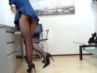 kathy_gray dressed like a pantyhose slut teasing with her legs and heels