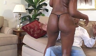 Stunning black beauty gets her pussy drilled by BBC
