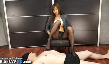 Japanese tiny secretary nylons foot fetish