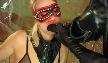 Latex clad blonde has some kinky fun with her man