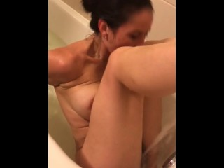 She Can Barely Contain Herself In The Bathrub